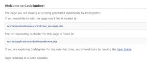 CodeIgniterの初めてのページ